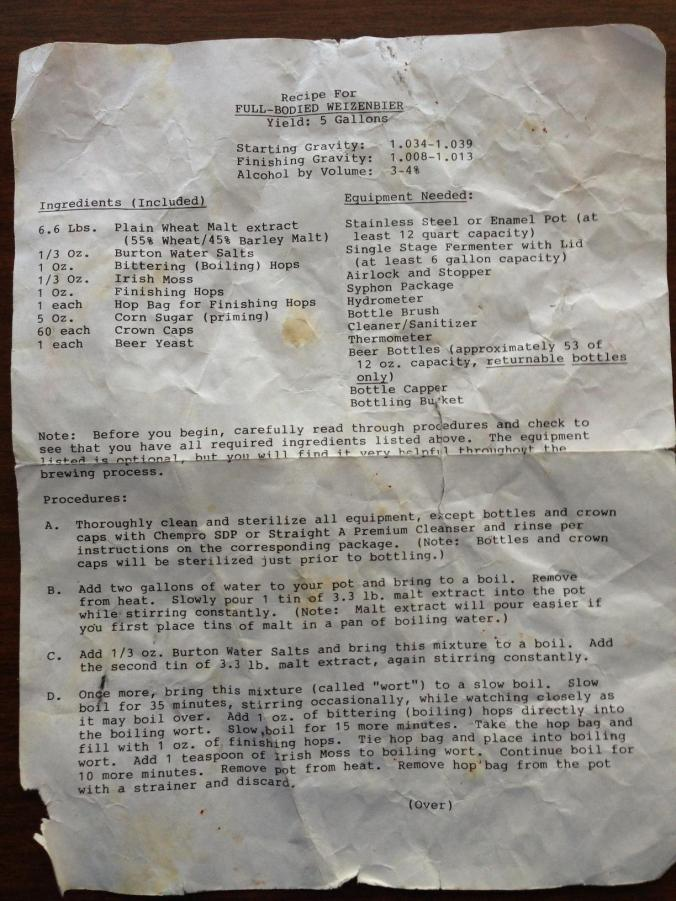 Weekend Project: Find ingredients for this old weizenbier recipe.