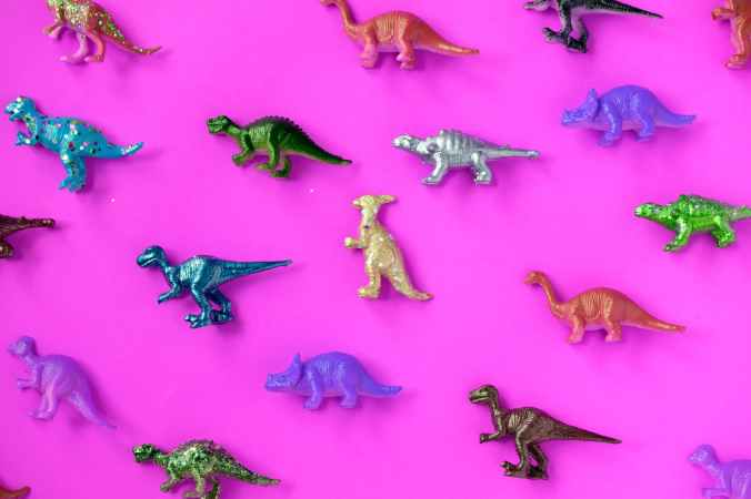 assorted dinosaur toys